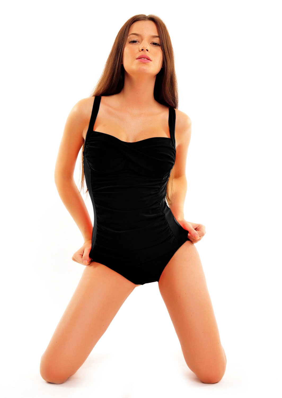 1083 2 teiliger damen tankini schwarz mit raffung badeanzug slip neu gr 38 50 ebay. Black Bedroom Furniture Sets. Home Design Ideas